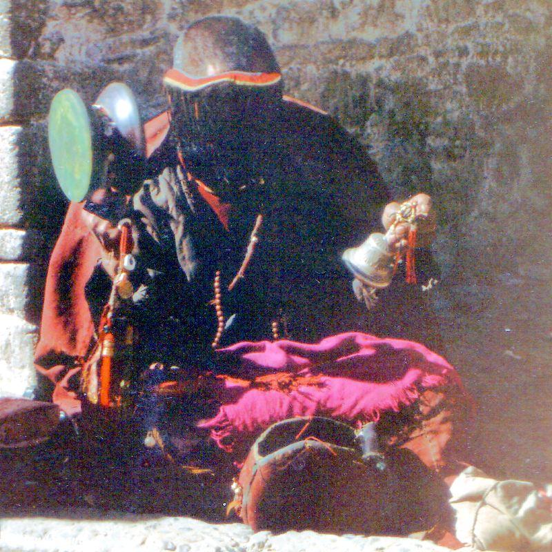China - Tibet - Lhasa - Devout buddhist outside the Jokhang temple.