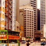 Hong Kong - Double decker buses and trams in Hong Kong Central, HK Island