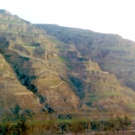 China - Rice terraces, seen from the train from Xining to Xian.