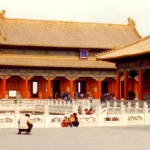 China - Beijing - Forbidden City - The Hall of Central Harmony (right) and the Hall of Preserving Harmony.