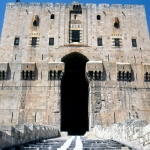 Syria - Aleppo - The entrance to the Citadel in the centre of town. There is a fantastic hall in the middle
