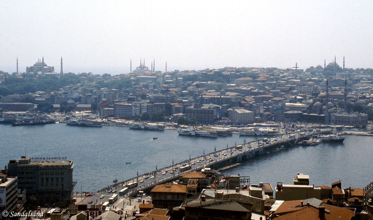 Turkey - Istanbul - The Galata Bridge across The Golden Horn, taken from the Galata Tower. The Blue Mosque is to the left