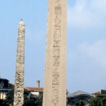 Turkey - Istanbul - Egyptian obelisks with hieroglyphs behind The Blue Mosque