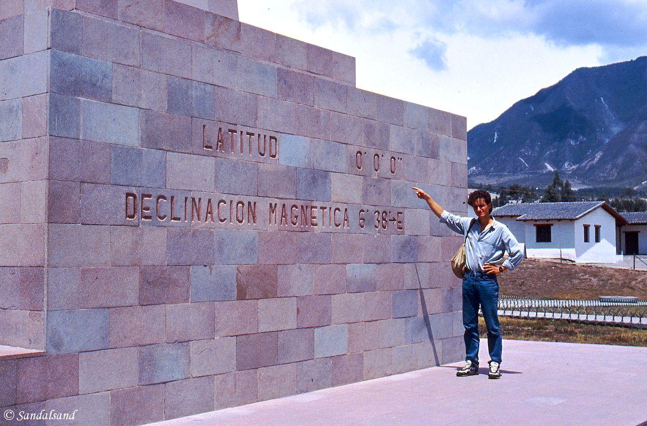 Ecuador - La Mitad del Mundo - 1987 - Picture of Bård Humberset, the author of Sandalsand