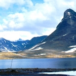 Norway - Jotunheimen - Leirvatn lake with peak of Kyrkja to the right