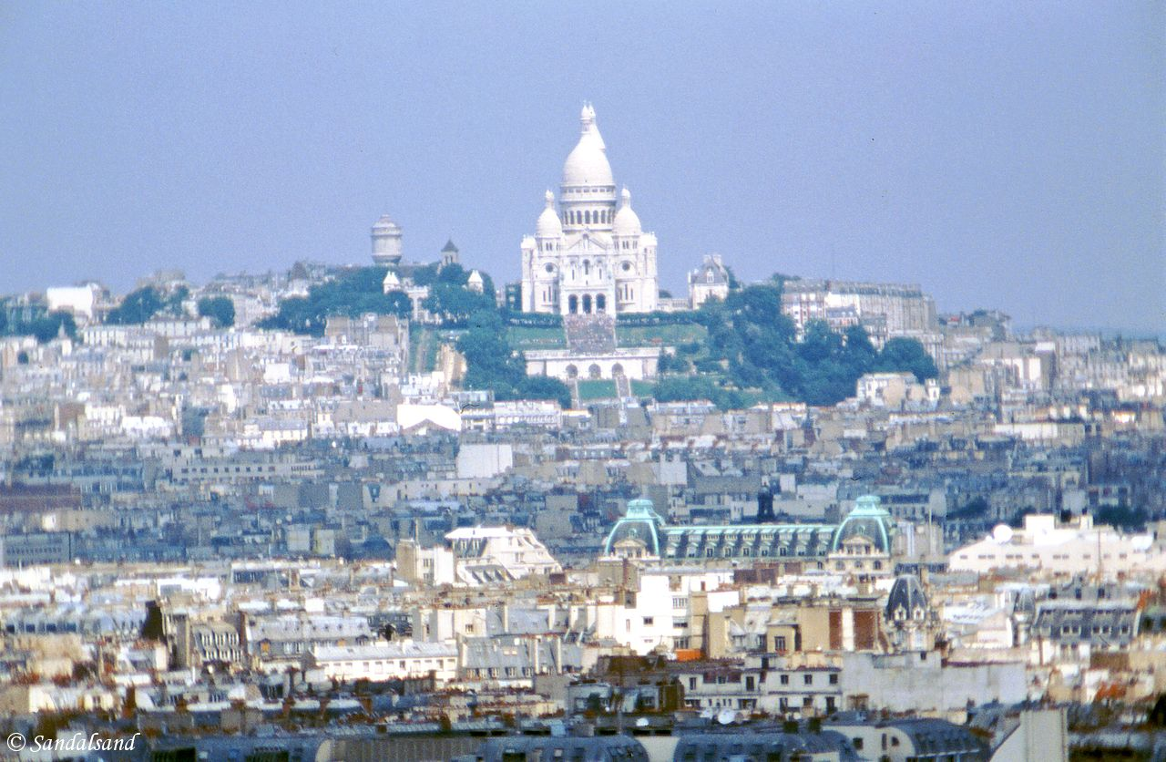 France - Paris - A long-distance view of Sacré-Coeur and Montmartre
