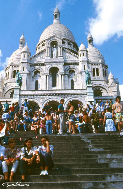 France - Paris - Crowd on the steps in front of the Church of Sacré-Coeur
