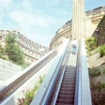 France - Paris - Funicular or escalator up to Montmartre and Church of Sacré-Coeur