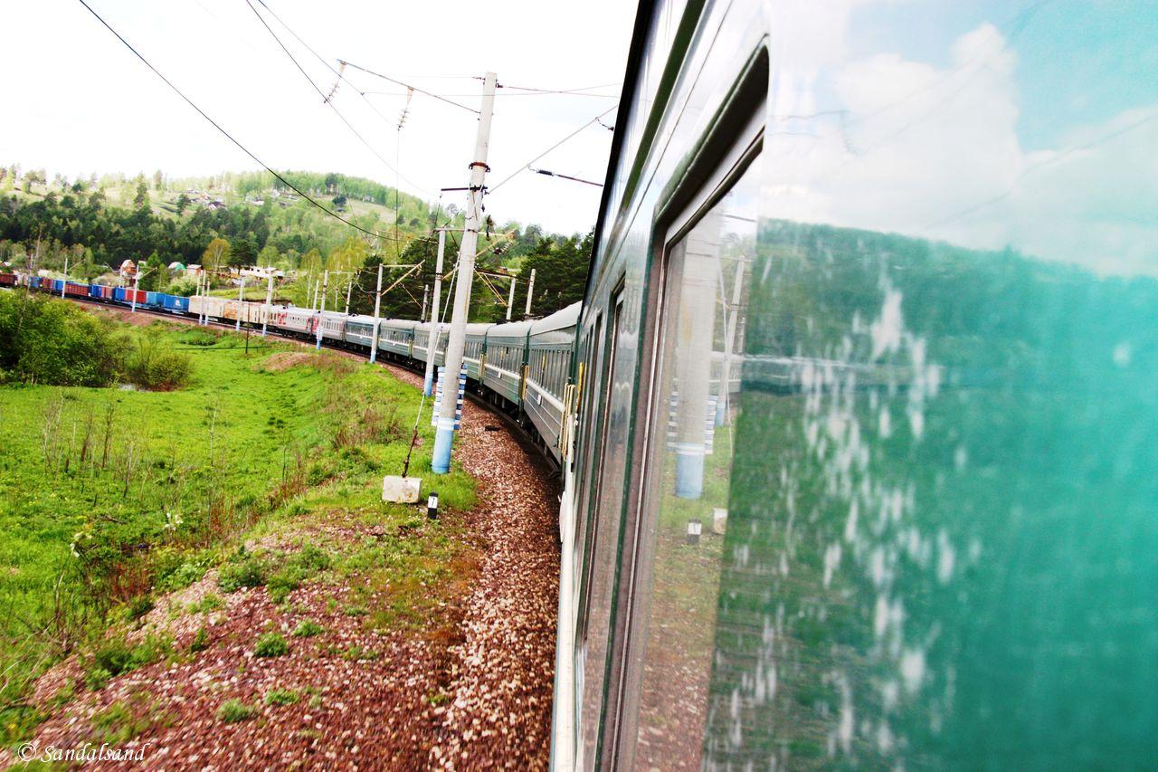 Trans-Sibirian train in bend, Russia