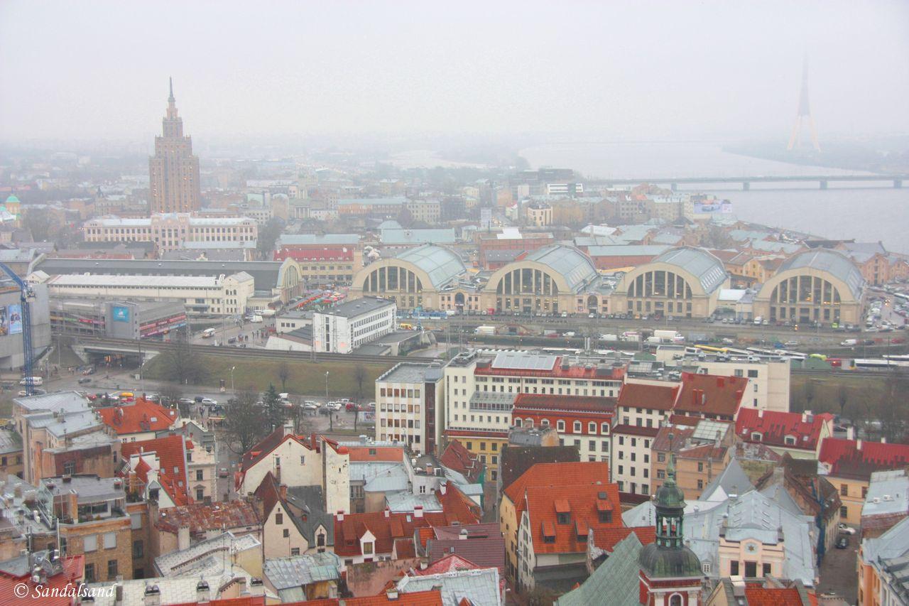 Latvia - Riga - View of town and Latvia - Riga - Market Halls and Daugava River