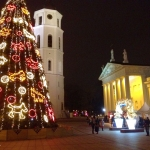 Lithuania - Vilnius - Christmas tree in front of the cathedral