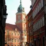 Poland - Warsaw (Warszawa) - The Royal Castle seen from and Old Town street