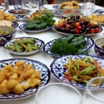 Uzbekistan - Samarkand - Sidedishes on an Uzbek table
