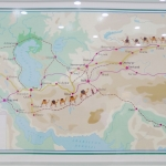 Uzbekistan - Samarkand - Trade routes on a poster in the Ulugh Beg Observatory