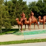 Uzbekistan - Fake camels pictured on the way out of Samarkand