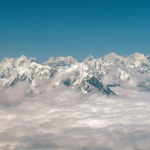 Nepal - Himalaya - Everest is the tallest peak here, with Lhotse in front and the Nuptse ridge to the left