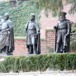 Poland - Malbork Castle - The Middle Castle Courtyard - Statues of Grand Masters