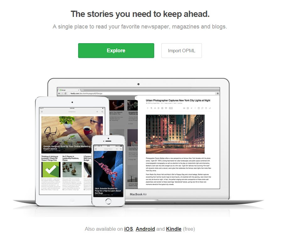 Feedly front page