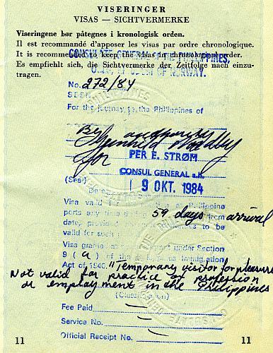 Philippines visa, 1985