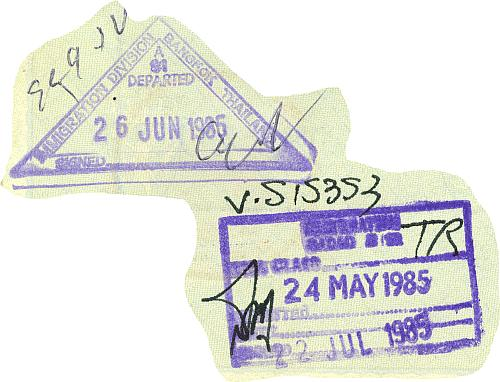 Thailand entry and exit stamps, 1985