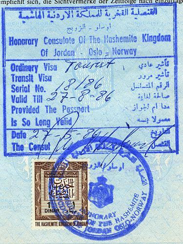 Jordan visa, 1986