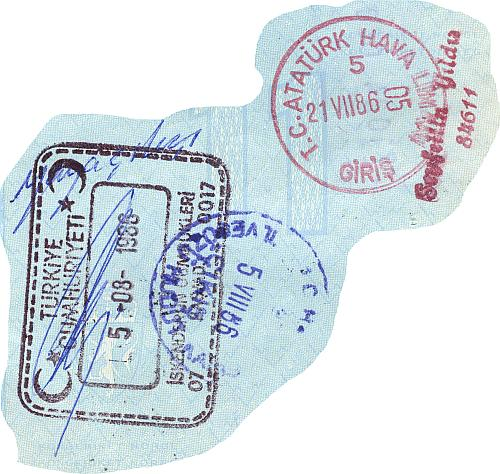 Turkey entry and exit stamps, 1986