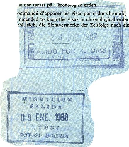 Bolivia entry and exit stamps, 1987