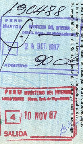 Peru entry and exit stamps, 1987 (1)