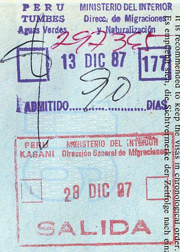 Peru entry and exit stamps, 1987 (2)