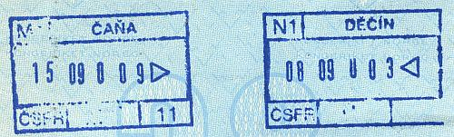 Czechoslovakia entry and exit stamps, 1990