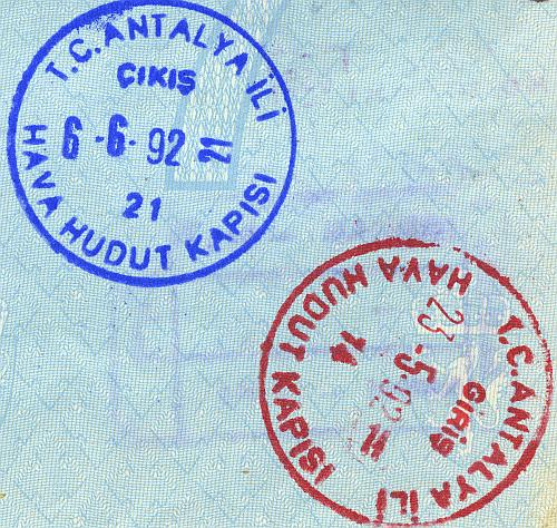 Turkey entry and exit stamps, 1992