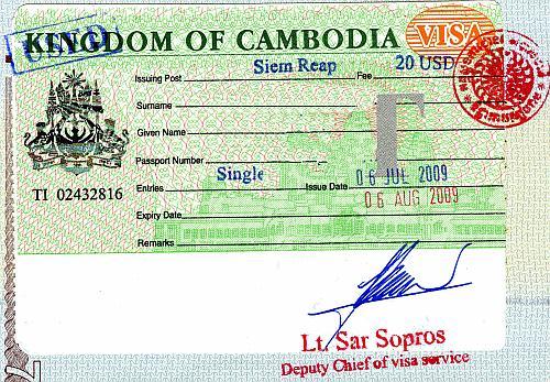 Cambodia visa, 2009