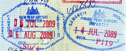 Cambodia entry and exit stamps, 2009