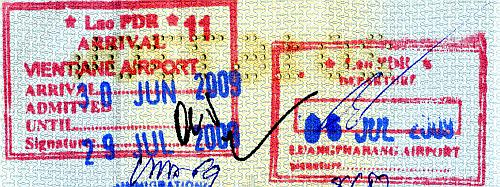 Laos entry and exit stamps, 2009