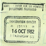 England exit stamp, 1982