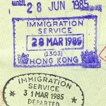 Hong Kong entry and exit stamps, 1985 (3)