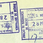 Macao entry and exit stamps, 1985