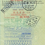 Taiwan visa, entry and exit stamps, 1985
