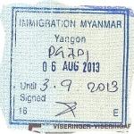 Myanmar exit stamp, 2013