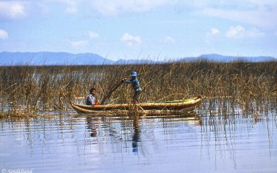 Puno and reed boats on Lake Titicaca